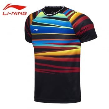 LI-NING National Badminton Team Men's BWF World Badminton Championships 2017 T-shirt | Lining Badminton Tournament Tees Fans Edition